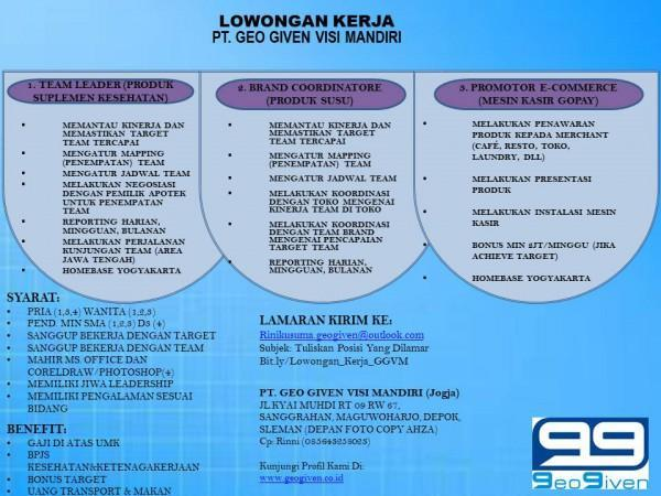 Lowongan Kerja Team Leader Brand Coordinatore Promotor Ecommerce Di Pt Geo Given Visi Mandiri Lokerjogja Id