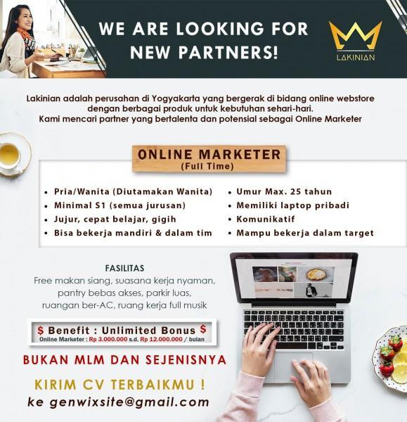 Lowongan Kerja Online Marketer di Lakinian - LokerJogja.ID