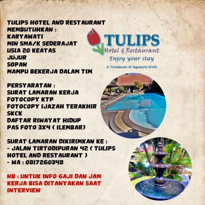 Lowongan Kerja Resepsionis Waitress Di Tulips Hotel Restaurant Lokerjogja Id