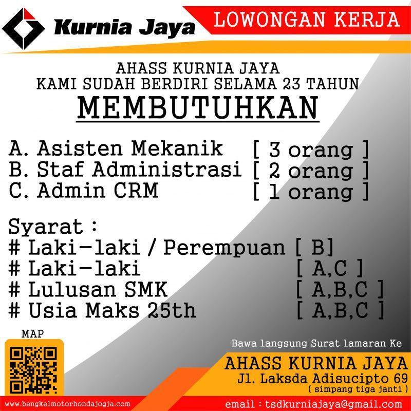 Lowongan Kerja Asisten Mekanik Staf Administrasi Admin Crm Di Ahass Kurnia Jaya Lokerjogja Id