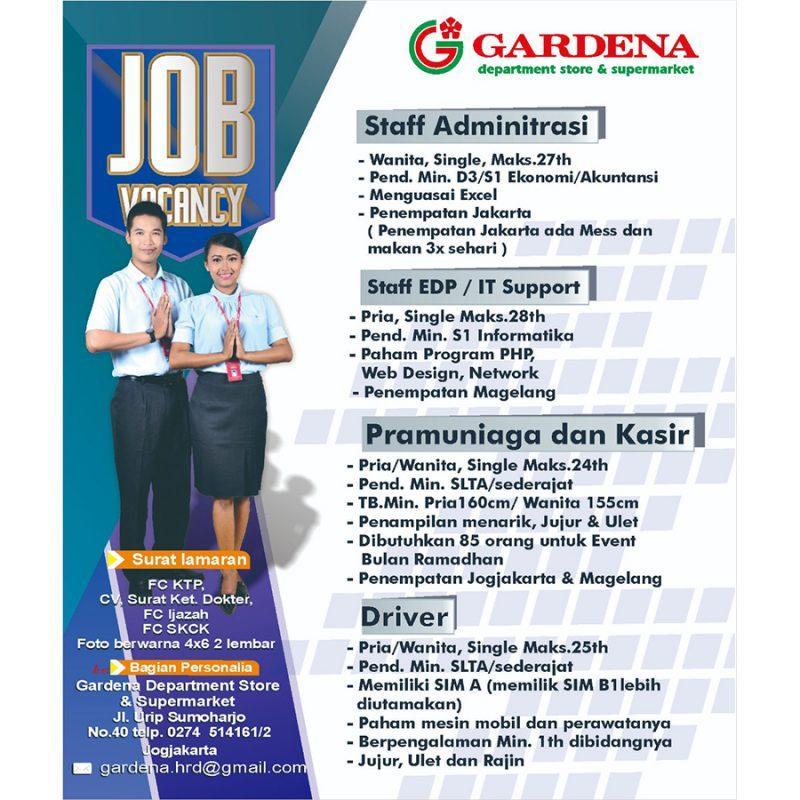 Lowongan Kerja Staff Administrasi Pramuniaga Dan Kasir Driver Di Pt Gardena Graha Lokerjogja Id
