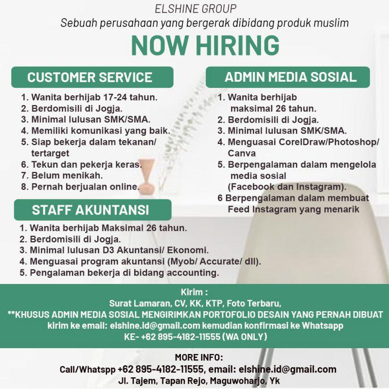 Lowongan Kerja Customer Service Admin Media Sosial Staff Akuntansi Di Elshine Group Lokerjogja Id