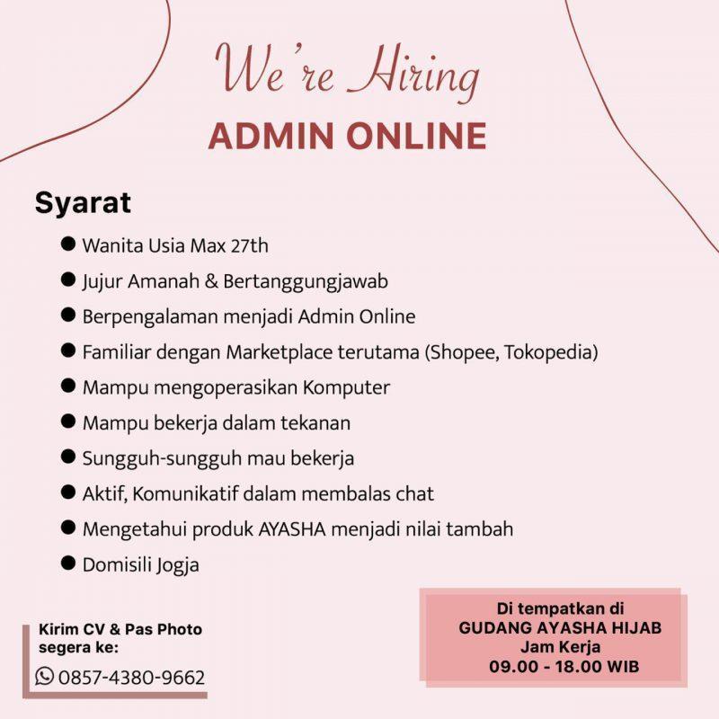 Lowongan Kerja Admin Online Di Ayasha Hijab Lokerjogja Id