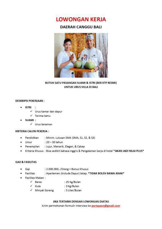 Lowongan Kerja Pengurus Villa Di Bali Di Amborella Lokerjogja Id